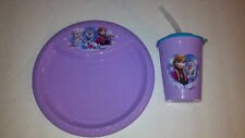 Disney's Frozen Dinner Snack Ware for Kids Plate Cup with Lid &Straw Great Gift