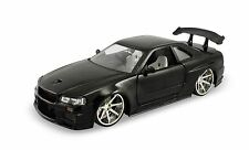 "Jada Nissan 2002 GT-R R34  Skyline 1:24 scale 8"" diecast model car Black J64"