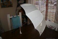 Vintage I. Magnin & co. wood handle White PARASOL UMBRELLA - Working