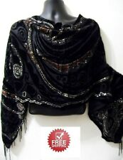 Brown Black Heart Swirl Scarf Shawl Sheer Veloure Silk Velvet Shiny Evening Wrap