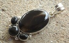 Handmade in India ~ silver plated onyx cabochon fancy design pendant