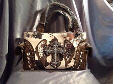 Ladies Cross with wings Rhinestone Studded Cow Hide Large Purse
