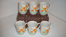 Set of 6 Otagiri Japense Mugs, California Poppy Design - New in Box