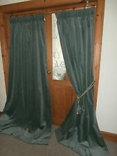 "Bespoke Velvet Curtains.Mint Green. 82""Drop - 90""Wide.Lined PAIR 4 of 4"