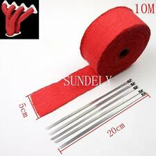 "2"" Exhaust Thermal Heat Wrap 10M Manifold Downpipe Motorbike Kit Car Red"