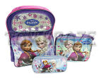 "DISNEY'S FROZEN BACKPACK LUNCH BOX & PENCIL CASE SET! PURPLE SILVER FOIL 16"" NWT"