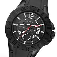 NEW GUESS SS SPORT CHRONO MEN BLACK SILICONE RUBBER STRAP WATCH U0034G3 DATE NWT