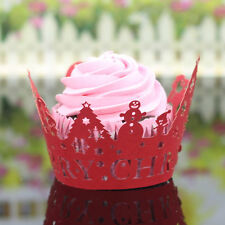 24Pcs Christmas Hollow Lace Cup Muffin Cake Paper Case Wraps Cupcake Wrapper New