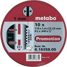 "Metabo 616358000 115mm (4 1/2"") Angle Grinder Discs Pack of 10 - Metal Cutting"