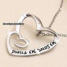 Xmas Gifts For Her - Silver Sister Friend Hearts Necklace Best Girlfriends Women