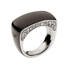 Emporio Armani Ladies Ring Size 8 Steel Black & Zirconia Design EGS1646001 New