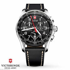 Victorinox Swiss Army Chrono Classic XLS Black Leather Men's Watch 241444