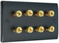 4.0 MATT BLACK Audio Speaker Wall Face Plate 8 GOLD Binding Post BANANA PLUG