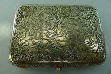 ANTIQUE ISLAMIC SILVER HINGED LID HIGHLY DETAILED DECORATED CIGARETTE CASE