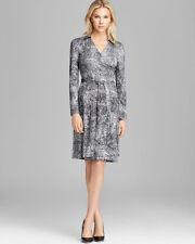 DVF New Jeanne Two Silk Wrap Dress In Wild Black US sz 2 $345 New!