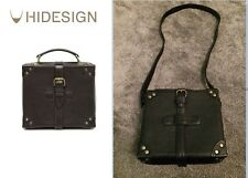 RARE Hidesign Roma Boxy Bag Black Leather Long Strap Mini Square Case Satchel