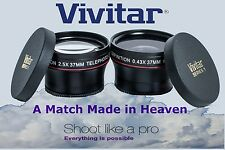 2-PC LENS KIT HD WIDE ANGLE & 2.5x TELEPHOTO LENS SET FOR SONY DCR-SX45