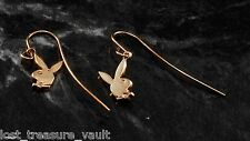 Vintage PlayBoy Bunny Earrings Gold Tone Metal Dangle Style Jewelry
