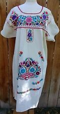 Mexican Dress Hand Embroidered Colorful Flowers Bata Huipil Manta Vtg Oaxacan XL