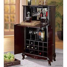 Wood Wine Cabinet Rack Liquor Storage 15 Bottle Holder Furniture Bar Traditional