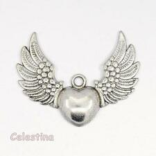 4 Tibetan Silver Angel Wing Charms - Winged Heart Pendants 36.5mm Large Wings