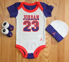 Air Jordan Baby Boy 3 Piece Bodysuit, Hat & Booties Set~White, Purple & Orange