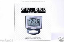 New Calendar Silver Digital desk Clock Thermometer,Alarm, Snooze, LED Blue Liigh