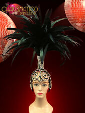 Diva Showgirl's Tall black feathered headdress with swirled Crystal Cap