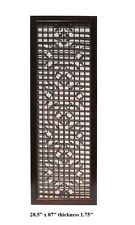 Chinese Wood Screen Panel Headboard with Geometric Floral Design  vs892
