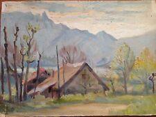 Acquarello colori fine '800 primi '900 case sfondo lago montagne ALPI APPENNINI