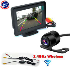 "4.3"" TFT LCD Monitor+ Mini Wireless Car Parking Reverse Back Up Camera Kit CCD"