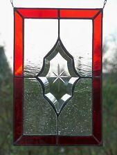 Bleiverglasung Fensterbild Gravur- Facette mit Echt- Antikglas in Tiffany