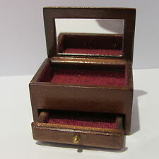 Jewellery Box ~ WOODEN ~ OPENING DRAWER ~ MIRROR ~ Doll House Miniature ~ 1/12