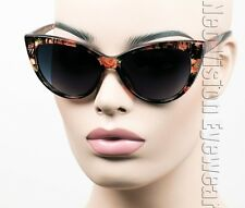 Oversized Cat Eye Sunglasses Pinup Vintage Style Gradient Flower Floral G06
