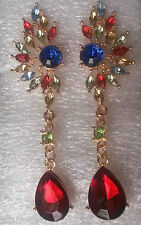 H01. Gold pl stud drop dangle earrings - ruby red, emerald blue & multi crystals
