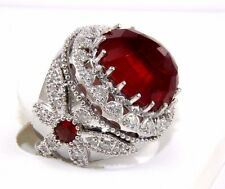 Fine Huge Wide Ruby Ring w/Diamond Dragonfly Accents 14k White Gold 24.48Ct