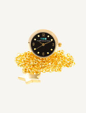 La Mer Collections Gold and Black Ring Watch with Chain