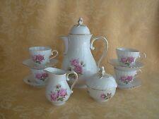 AK KAISER Demitasse Teapot, Creamer & Sugar Bowl, 4 Cups Saucers Moosrose German
