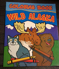 Wild Alaska Coloring Book - big pictures - 32 pages ! Eagle, Musk Ox, and more!