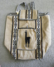 New Made In Peru Alpaca Wool Rustic Large Light Weight Backpack #908-16