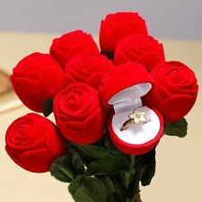 1pc Valentine's Day Red Rose Flower Ring Earring Necklace Jewelry Gift Case Box