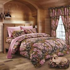 12 PC SET!! CAL KING SIZE PINK CAMO BEDDING COMFORTER SHEET CAMOUFLAGE WOODS