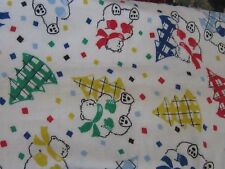 Darling primary colors fabric material sewing polar bears & Christmas trees fun