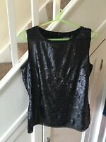 Bnwt Black Heavy Sequin Top By Marks And Spencer Portfolio Size 8 Rrp£59