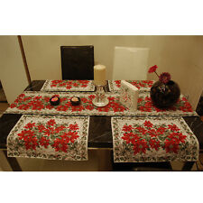 1pc Xmas Red Flower Holiday Table Cloth Placemat Setting Mat Cutlery Holder