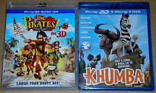 Kid Blu-ray 3D DVD Lot - The Pirates! Band of Misfits in 3D (Used) Khumba (New)
