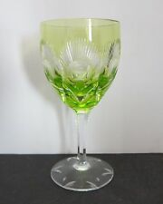 Lime Green Bohemian Crystal Cut to Clear Wine Hock Glass