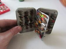 vintage richard wheatley wet fly clip waistcoat trout fishing box + 102 flies .