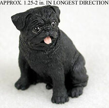 Pug Mini Resin Hand Painted Dog Figurine Black