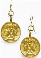 Etruscan Janus Roman god of New Beginnings Charm Dangle Earrings 24k Gold-plate